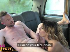 Three exciting sessions and cumshots with Fake Female Taxi