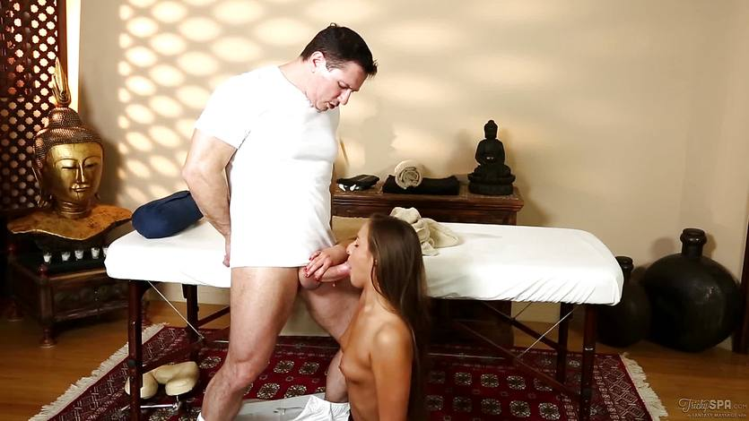Amirah Adara sucking dick at the massage parlour