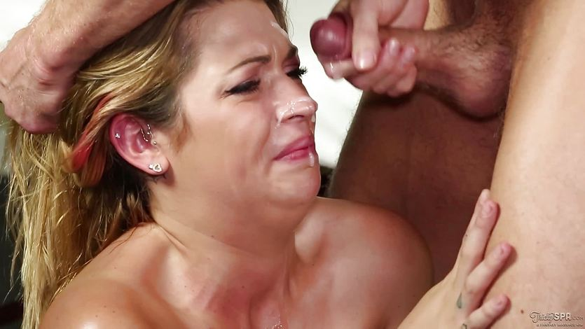 Innocent babe Jenna Ashley tricked into getting spunked on her face