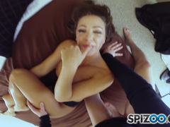 Beautiful babe Abigail Mac POV style gags on dick