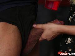 Massive dick slides into AJ Applegate in public shop
