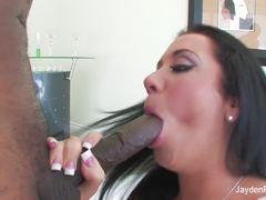Sexy Jayden Jaymes devours this huge dick
