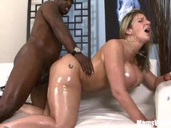 Oiled milf Sara Jay gets her pussy nailed