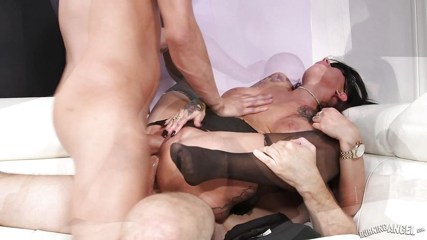 Gorgeous brunette Lily Lane getting double penetrated