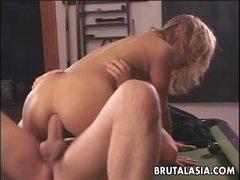 Asian babe Kat rides this stiff cock