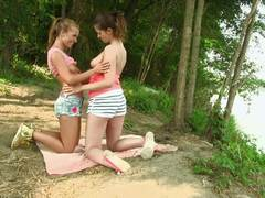 Lesbian pussy playtime outdoors with Angie Koks and Lindsey Olsen