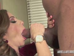 Luscious Ariella Ferrera stuffs her mouth with cock