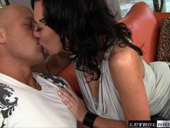 MILF Alia Janine shows off her huge tits as she rides cock