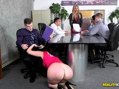 Balls deep pussy fucking Ryan Smiles in the office
