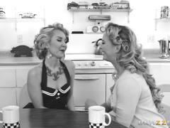 Back in time with hot lesbians Aaliyah Love and Cherie Deville