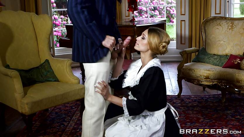 Erica Fontes fucks a posh visitor in her maids uniform