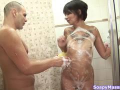 Slipping and sliding brunette teasing a horny man