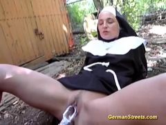 Nun picked up for naughty public sex on street