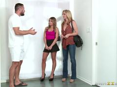 Saucy stepmom Julia Ann sharing a dick with Kendall Kayden