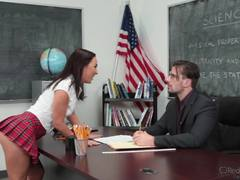 Student Amara Romani enjoys the teachers hard cock