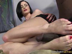 Racy Veruca James takes on big black cock