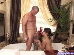 Massaging beauty wet and soapy