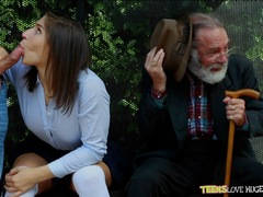 Nervous grandad has to witness Abella Danger pussy thrashed at the bus stop