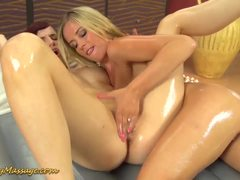 Slippery lesbians pussy fingered oily Nuru massage
