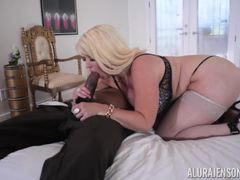 Cute pussy of MILF Alura Jenson crammed with big black cock