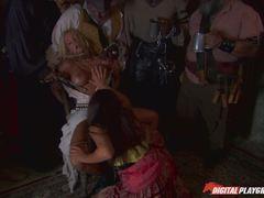 Pirates watch lesbians Jenaveve Jolie and Carmen Luvana mess with minge