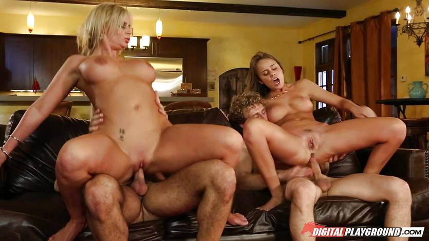 Family pussy pounding lesson with Phoenix Marie and Alexis Adams