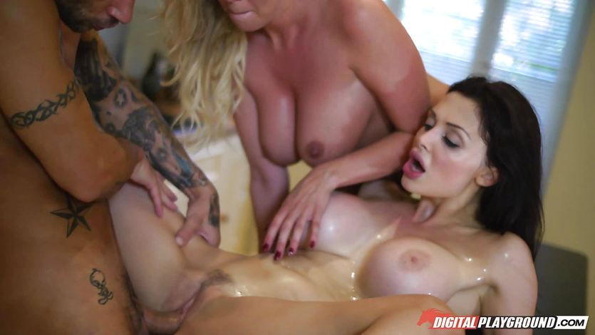 Amazing brunettes Aletta Ocean and Lexi Lowe get big cock stuck between their teeth