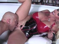 Horny Alura Jenson in her sex suit crammed in her pussyhole