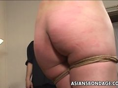 Asian babe getting body whipped