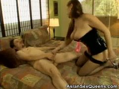 Hard cock slides into the mouth of cute asian babe