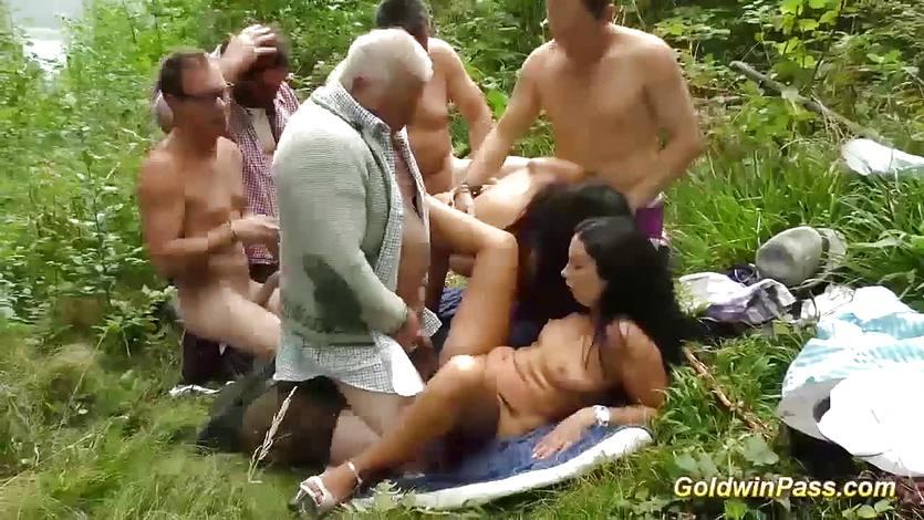 Public pussy slamming bukkake