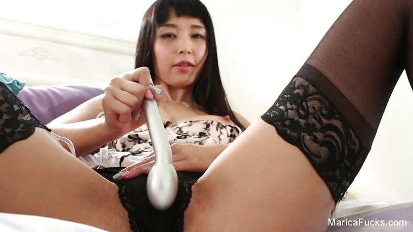 Pornstar Marica shows off her new silver friend