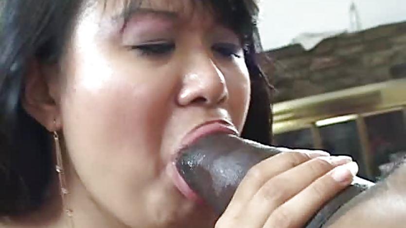 Hard black dick slides into Asian chcik
