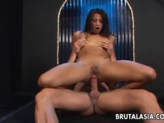Brunette Starla Sterling bounces on this stiff shaft