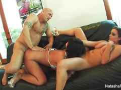 Horny babes Natasha, Kayme, and Derrick pussy crammed deep
