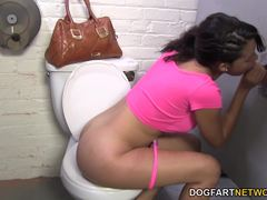 Sassy Aria Salazar sucking cock at gloryhole