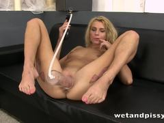 Blonde Lana Roberts pumps her pussy
