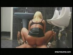 Blonde ass fucked in bathroom