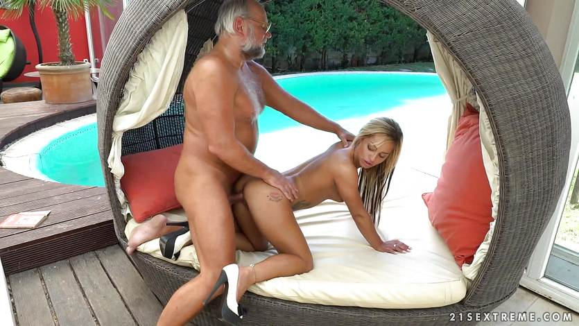 Old man stuffs his cock into cute blonde