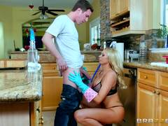Busty blonde Briana Banks bent over and pounded