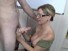 Jodi West tugs on this hard dick