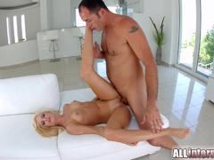 AllInternal Stunning blonde shows off her creamed pussy