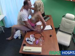 Blonde patient playing with her pussy