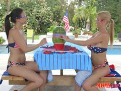 Watermelon explosion then eating pussy with Alexis Fawx and Alexis Deen