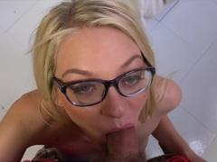 Blonde Alli Rae devours this hard cock