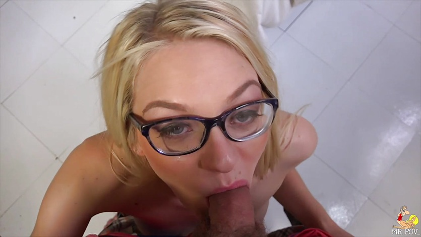 Blonde Alli Rae devours this hard cock