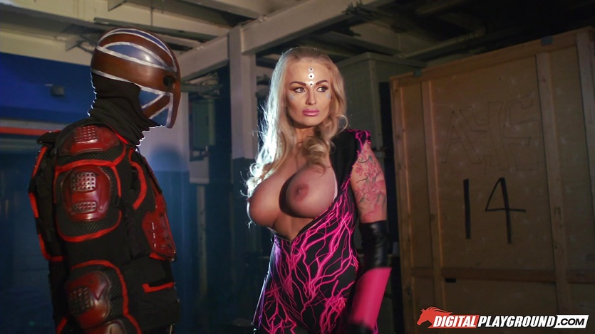 Amazing super heroine Kayla Green has a hot explosion ending