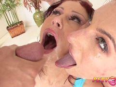 PervCity Two Sluts Swallow Mike Adrianos Big Cock