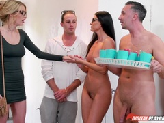 Pussy eating and cock sucking nudist party with India Summers and Blake Eden