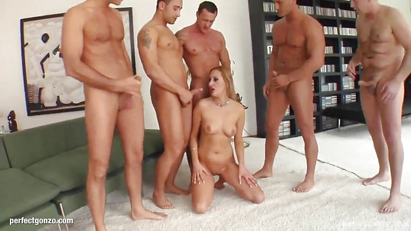 Blowbang group blowjob given by cum hungry Mercy
